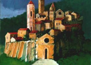 """Borgo onirico"" tecnica mista (70 x 90 cm)"