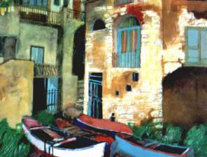"""""""Barche a riva"""" tecnica mista (60 x 80 cm)"""