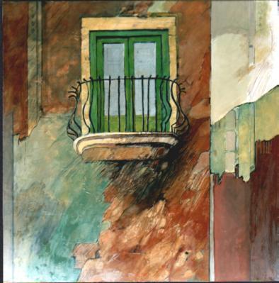 """Finestra"" tecnica mista (80 x 80 cm)"