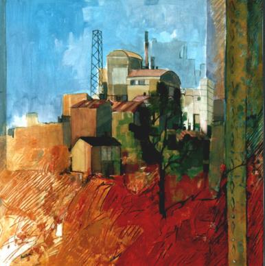 """Industria"" tecnica mista (80 x 80 cm)"