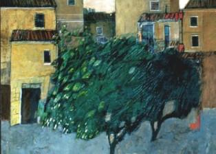 """""""Piazza"""" tecnica mista (60 x 60 cm)"""