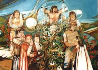 """""""Crocefissione"""" tecnica mista (180 x 290 cm)"""