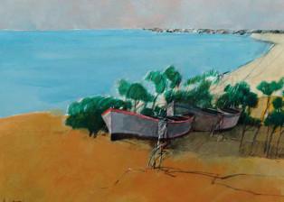 """""""Barche"""" tecnica mista (40 x 50 cm)"""