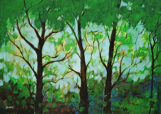 """Verde"" tecnica mista (50 x 70 cm)"
